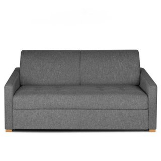 Canapé convertible express DANDY matelas 140cm comfort BULTEX® mono assise capitonnée tissu tweed gris silex