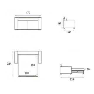 Canapé lit compact 3 places MAGNIFICO matelas 140cm comfort BULTEX® 16cm sommier lattes RENATONISI