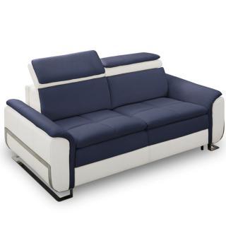Canapé lit MORELIA convertible 140cm ouverture RAPIDO matelas 15cm pvc blanc et tissu tweed bleu