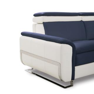 Canapé lit MORELIA convertible 140cm ouverture RAPIDO matelas 15cm tissu nubucka blanc et bleu foncé