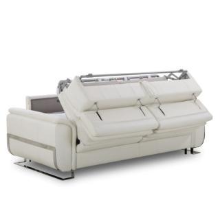Canapé lit MORELIA convertible 140cm RAPIDO matelas 15cm tissu nubucka blanc et bleu foncé