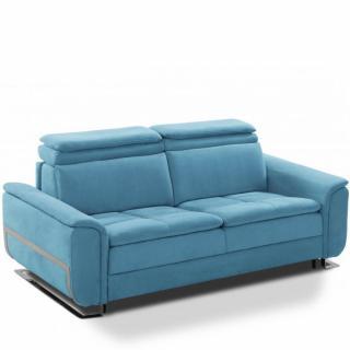 Canapé lit MORELIA convertible 140cm RAPIDO matelas 15cm structure nubucka blanc et nabucka bleu turquoise