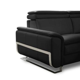 Canapé lit MORELIA convertible 140cm RAPIDO matelas 15cm cuir vachette noir