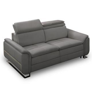 Canapé lit MORELIA convertible 140cm ouverture RAPIDO matelas 15cm cuir vachette recyclé gris graphite