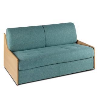 Canapé lit compact 3 places NORMANN 140cm matelas 16cm  express accoudoirs bois