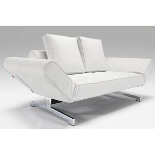 Canapé design GHIA CHROME Leather Look_White convertible lit 210*80cm