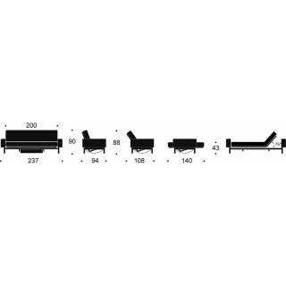 Canapé design mulitfonction MIMER convertible lit 140*200cm