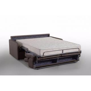Canapé lit MONTMARTRE en microfibre marron convertible rapido couchage 140cm matelas 18cm sommier lattes RENATONISI