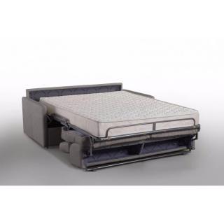 Canapé lit MONTMARTRE en microfibre taupe convertible rapido couchage 140cm matelas 18cm sommier lattes RENATONISI