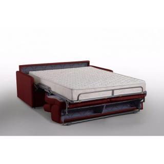Canapé lit MONTMARTRE en microfibre bordeaux couchage 160cm MATELAS 18CM sommier lattes RENATONISI