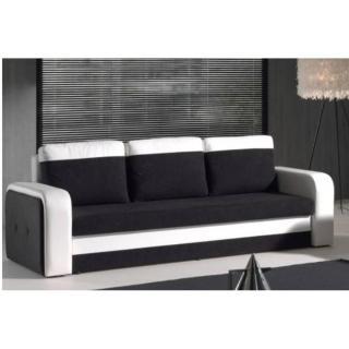 Canapé convertible express NYX en bi-matière noir et blanc