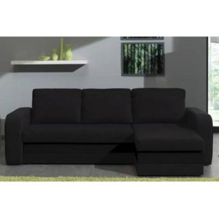 Canapé d'angle convertible express NYX 140cm bi-matière noir
