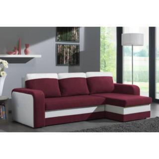 Canapé d'angle convertible express NYX 140cm bi-matière prune et blanc