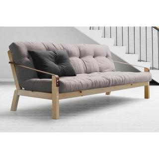 Canapé 3/4 places convertible POETRY style scandinave futon gris couchage 130*190cm
