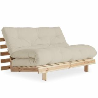 Canapé convertible style scandinave ROOTS NATURAL futon taupe couchage 140*200cm