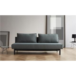 INNOVATION LIVING  Canapé design SLY convertible lit 140*200 cm pieds métal noir, tissu Elegance Green