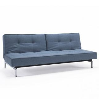 INNOVATION LIVING  Canapé Sofa SPLITBACK  CHROME convertible lit 115*200 cm tissu Mixed Dance Light Blue