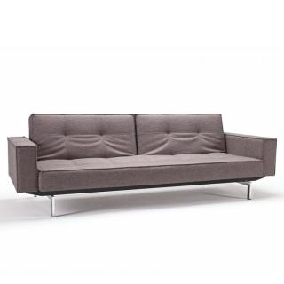 INNOVATION LIVING  Canapé SPLITBACK  CHROME avec accoudoirs tissu convertible lit 115*200 cm tissu Mixed Dance Grey