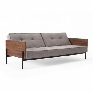 INNOVATION LIVING  Canapé SPLITBACK  LAUGE convertible lit 115*200 cm tissu Mixed Dance Grey manchettes noyer