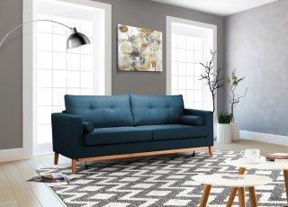 Canapé convertible 3 places RANDERS couchage transversal 140 x 186 cm tissu como bleu azur