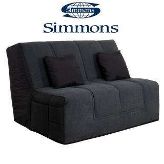 Canapé convertible BZ WELL coton gris/noir système Slyde matelas SIMMONS ELIVEA 15cm