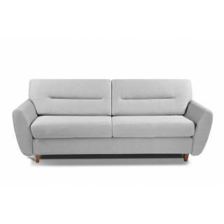 COPENHAGUE divano in pelle riciclata grigio chiaro sistema letto RAPIDO 120cm materasso 15cm
