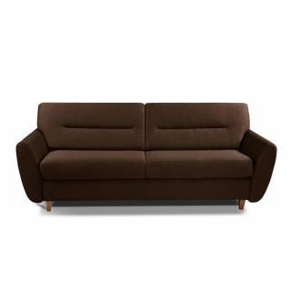 COPENHAGUE divano in pelle riciclata marrone sistema letto RAPIDO 120cm materasso 15cm