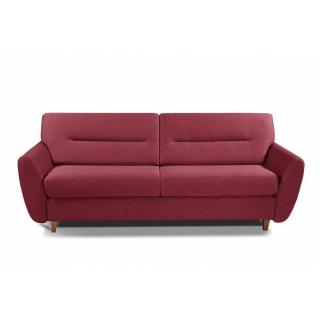 COPENHAGUE divano in tessuto tweed rosso sistema letto RAPIDO 120cm materasso 15cm