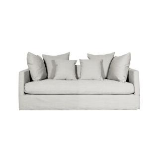 Canapé fixe design 2 places SIMONE tissu blanc cassé.