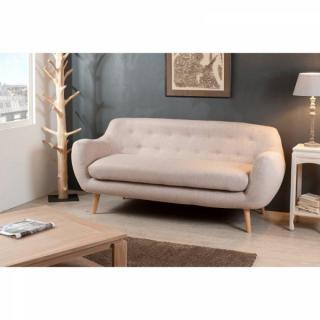 Canapé Fixe 3 Places DELTA en Tissu Style Scandinave