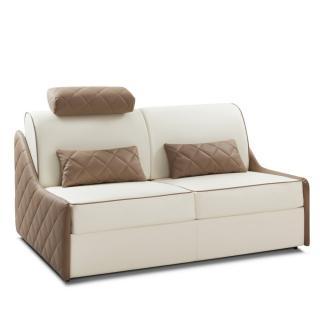Canapé convertible rapido SAINT HONORE matelas 140cm comfort BULTEX® 16cm cuir vachette recyclé blanc cassé et taupe