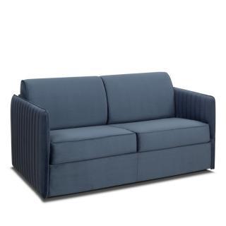 Canapé convertible SEATTLE 120cm comfort BULTEX® sommier lattes RENATONISI tête de lit intégrée microfibre bleu navy