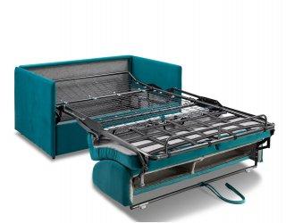 Canapé convertible express COLOSSE matelas épaisseur 22cm à mémoire de forme couchage 120 cm velours bleu paon