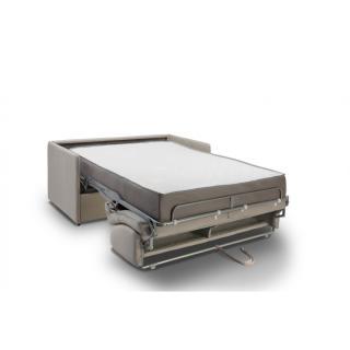 Canapé lit express COLOSSE couchage 120 cm matelas épaisseur 22 cm à mémoire de forme velours gris silver