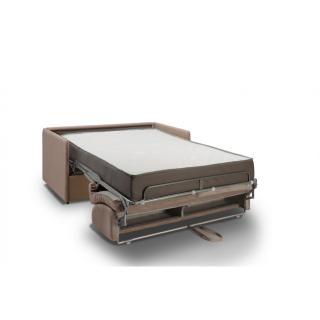 Canapé lit express COLOSSE couchage 120 cm matelas épaisseur 22 cm à mémoire de forme velours taupe
