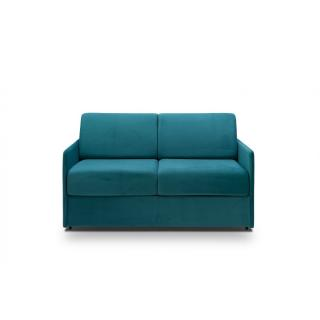 Canapé convertible express COLOSSE matelas épaisseur 22cm à mémoire de forme couchage 140 cm velours bleu paon