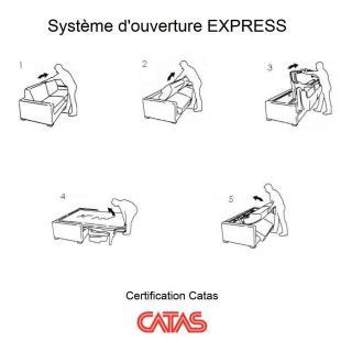 Canapé convertible express COLOSSE matelas épaisseur 22cm à mémoire de forme couchage 160 cm velours bleu paon