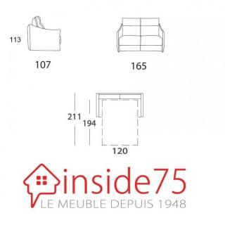Canapé 2-3 places TIME convertible ouverture EXPRESS 120*194*18cm