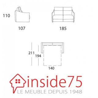 Canapé TIME convertible 140cm ouverture EXPRESS Matelas 14cm