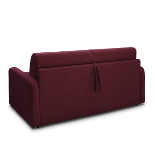 Canapé convertible express SPRING 140cm matelas ressorts 20cm tissu tweed rouge framboise
