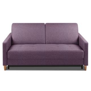 Canapé convertible OGGETTO matelas 14cm système rapido sommier lattes 160cm RENATONISI tissu microfibre violet