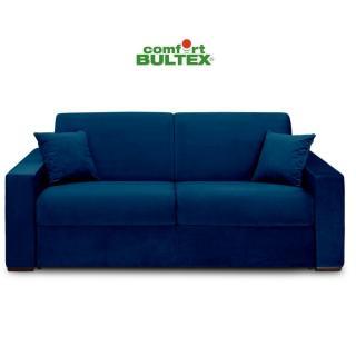 Canapé convertible rapido VOLOUTO matelas 140cm comfort BULTEX® 16cm sommier lattes RENATONISI tissu velours bleu
