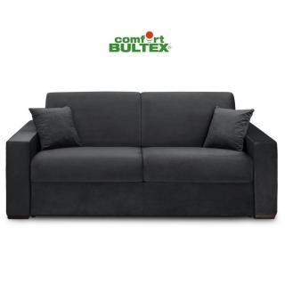 Canapé convertible rapido VOLOUTO matelas 140cm comfort BULTEX® 16cm sommier lattes RENATONISI tissu velours gris foncé