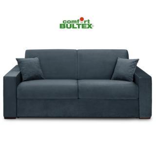 Canapé convertible rapido VOLOUTO matelas 140cm comfort BULTEX® 16cm sommier lattes RENATONISI tissu velours gris