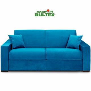 Canapé convertible rapido VOLOUTO matelas 140cm comfort BULTEX® 16cm sommier lattes RENATONISI tissu velours bleu azur