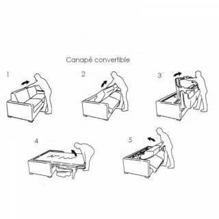 Canapé convertible ouverture EXPRESS SCANDINAVE couchage 120cm matelas 14cm