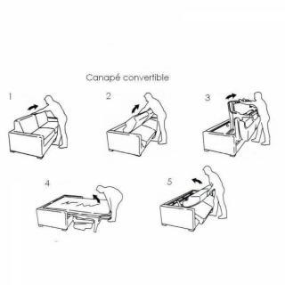 Canapé convertible RAPIDO SCANDINAVE 140cm matelas 14cm microfibre taupe