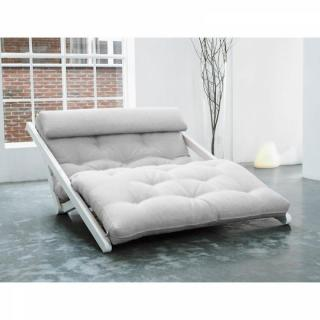 Fauteuil blanc convertible FIGO futon écru couchage 120*200cm