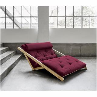 Fauteuil convertible style scandinave FIGO futon bordeaux couchage 120*200cm