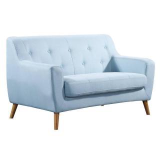 Canapé 2 places style scandinave BAGNOLO tissu tweed bleu clair